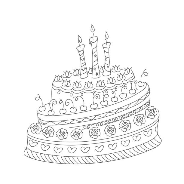 outline doodle cake with three candles Sketch of monochrome cake for birthday card or children and adult coloring book. Isolated outline doodle cake with roses, cherry and three candles on the white background.  eps 10. cartoon of birthday cake outline stock illustrations