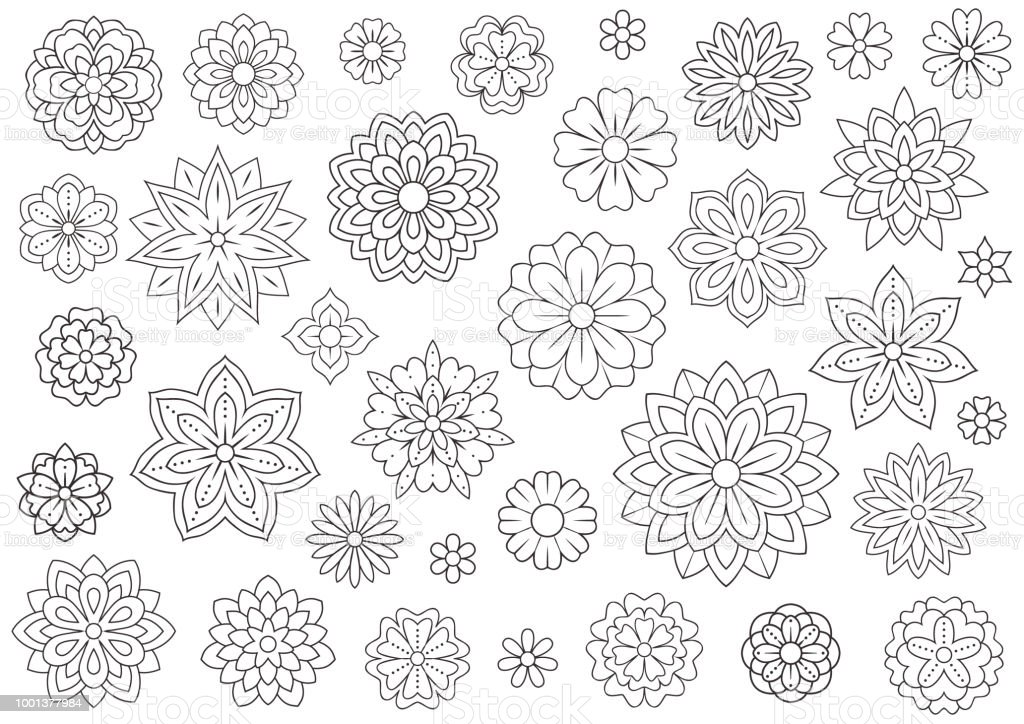 Outline doodle flowers for adult coloring book. Beautiful floral...