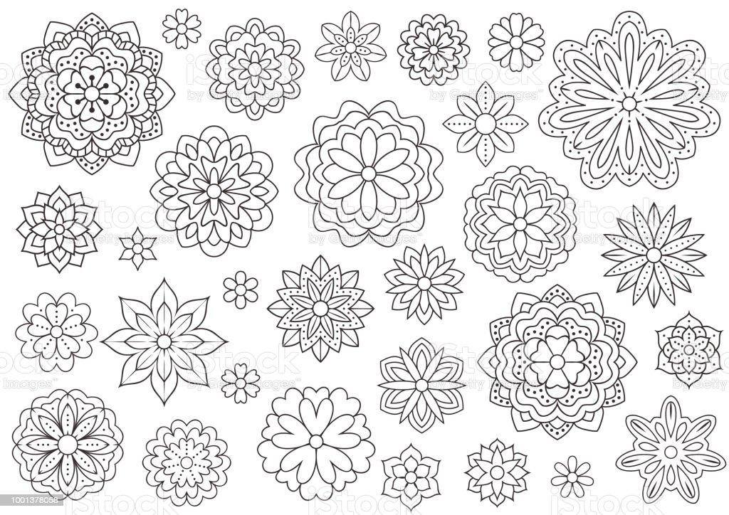Ilustración de Esquema Doodle Flores De Libro De Colorear De Adultos ...