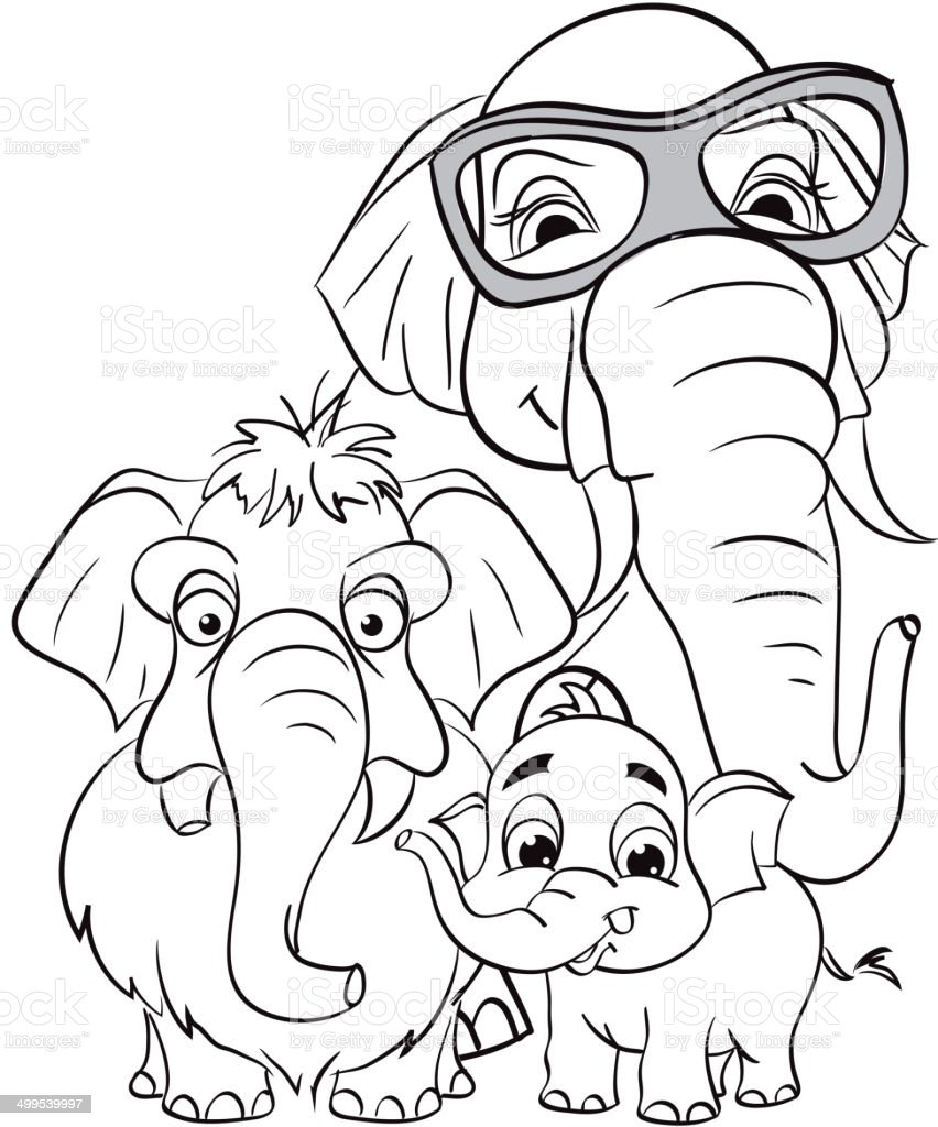 outline drawing of the family of elephants stock vector art