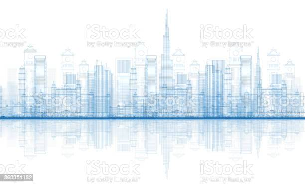 Outline dubai city skyscrapers skyline with reflections vector id863354182?b=1&k=6&m=863354182&s=612x612&h=yqvsmrp4suncniz4cktstjjkt80kv6mq75yb8ouqapk=
