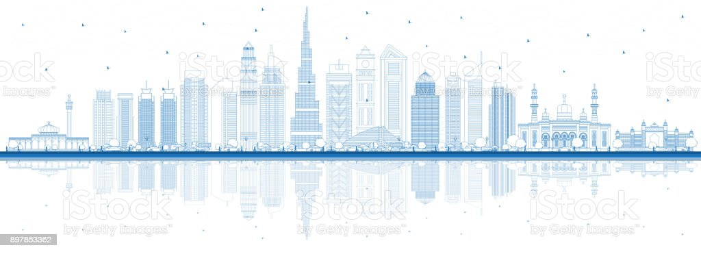outline dubai uae city skyline with blue buildings and reflections