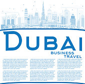Outline Dubai UAE Skyline with Blue Buildings and Reflections.