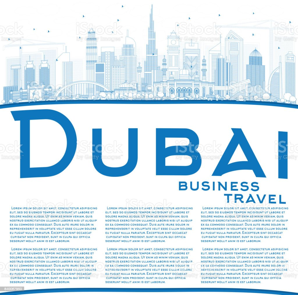 Outline Dubai UAE Skyline with Blue Buildings and Reflections. vector art illustration