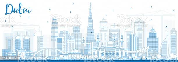 Outline dubai uae skyline with blue buildings vector id826941378?b=1&k=6&m=826941378&s=612x612&h=tchcweijenoxvhlkw87gzpgryv0oxpjkgnwnsu9pwoy=