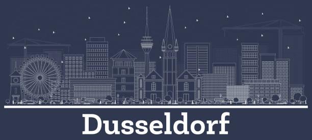 outline düsseldorf deutschland skyline mit weißen gebäuden. - düsseldorf stock-grafiken, -clipart, -cartoons und -symbole