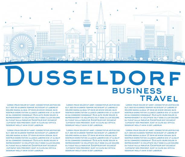 überblick düsseldorf skyline mit blauen gebäuden und textfreiraum. - düsseldorf stock-grafiken, -clipart, -cartoons und -symbole