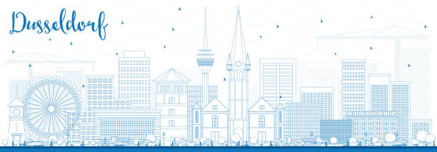 überblick düsseldorf skyline mit blauen gebäude - düsseldorf stock-grafiken, -clipart, -cartoons und -symbole