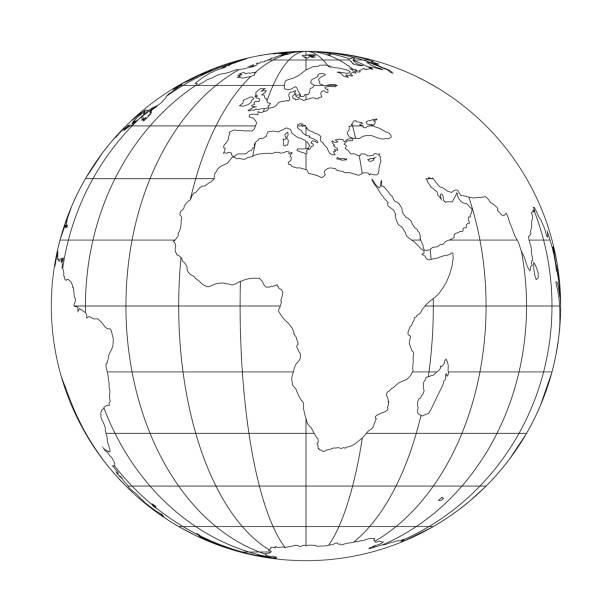 Royalty free equator clip art vector images illustrations istock outline earth globe with map of world focused on africa vector illustration vector art illustration gumiabroncs Gallery