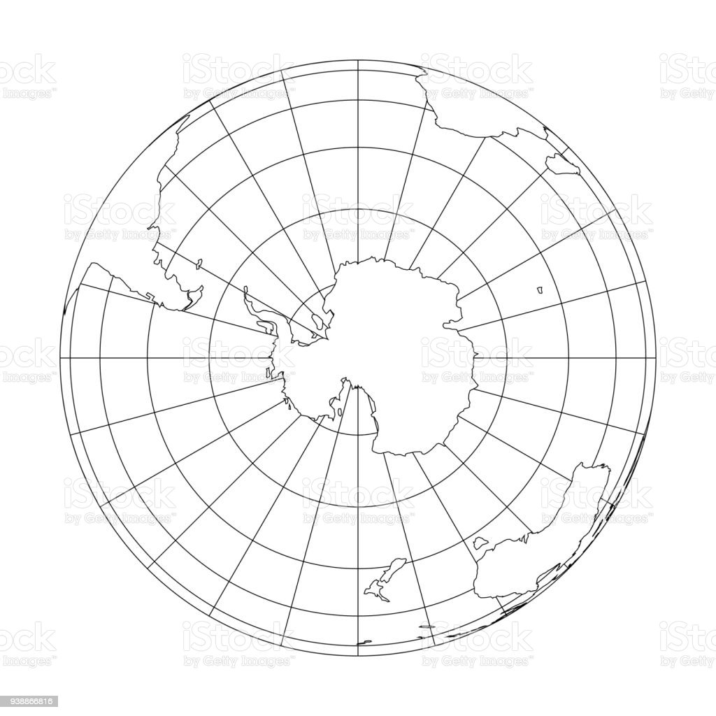 Outline Earth globe with map of World focused on Antarctica. Vector illustration vector art illustration