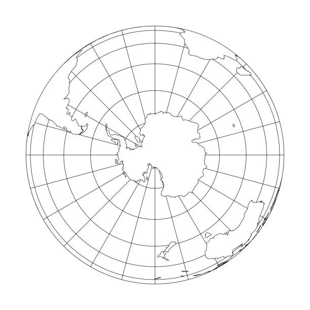 outline earth globe with map of world focused on antarctica. vector illustration - antarctica maps stock illustrations, clip art, cartoons, & icons
