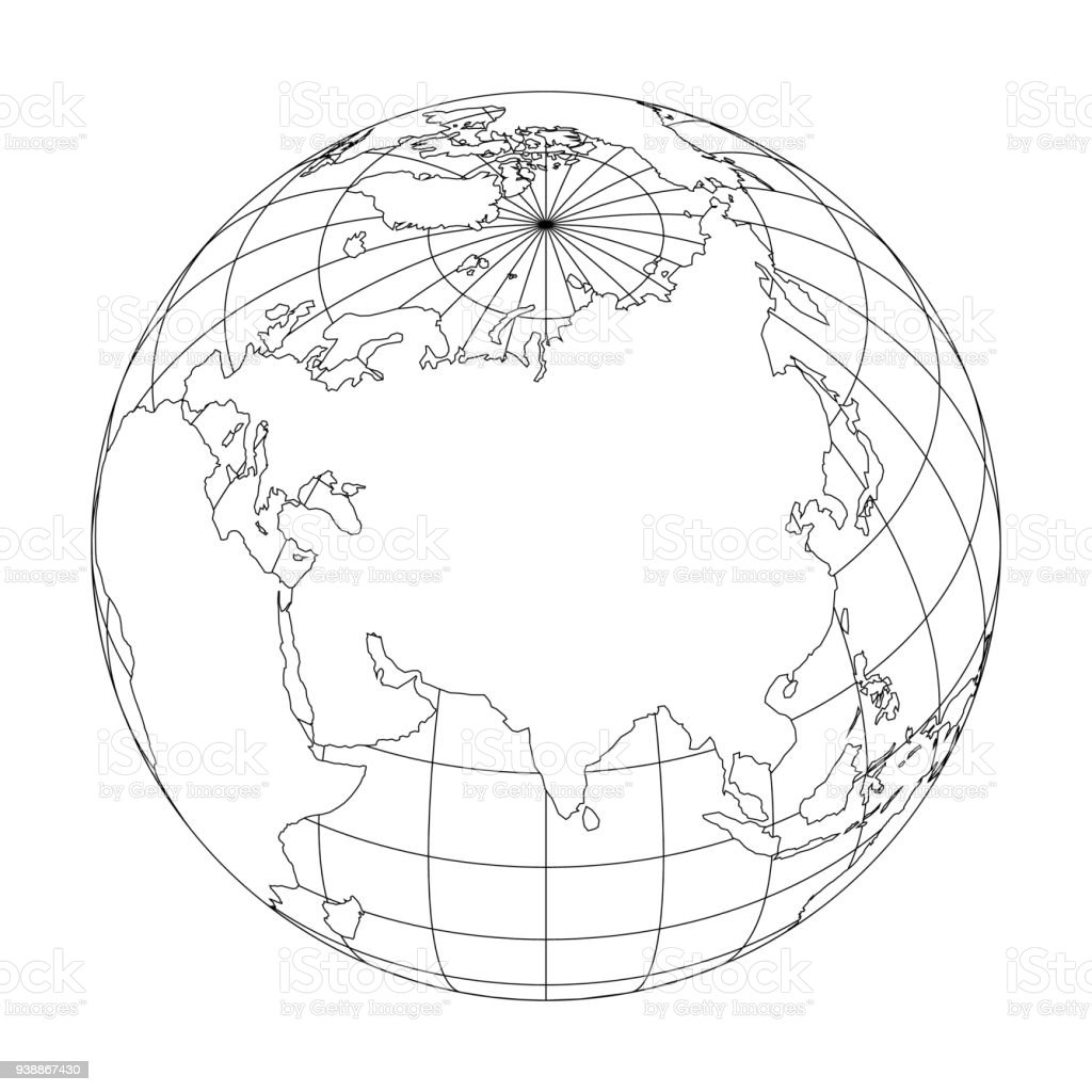 Outline Earth Globe With Map Of World Focused On Asia Vector ...