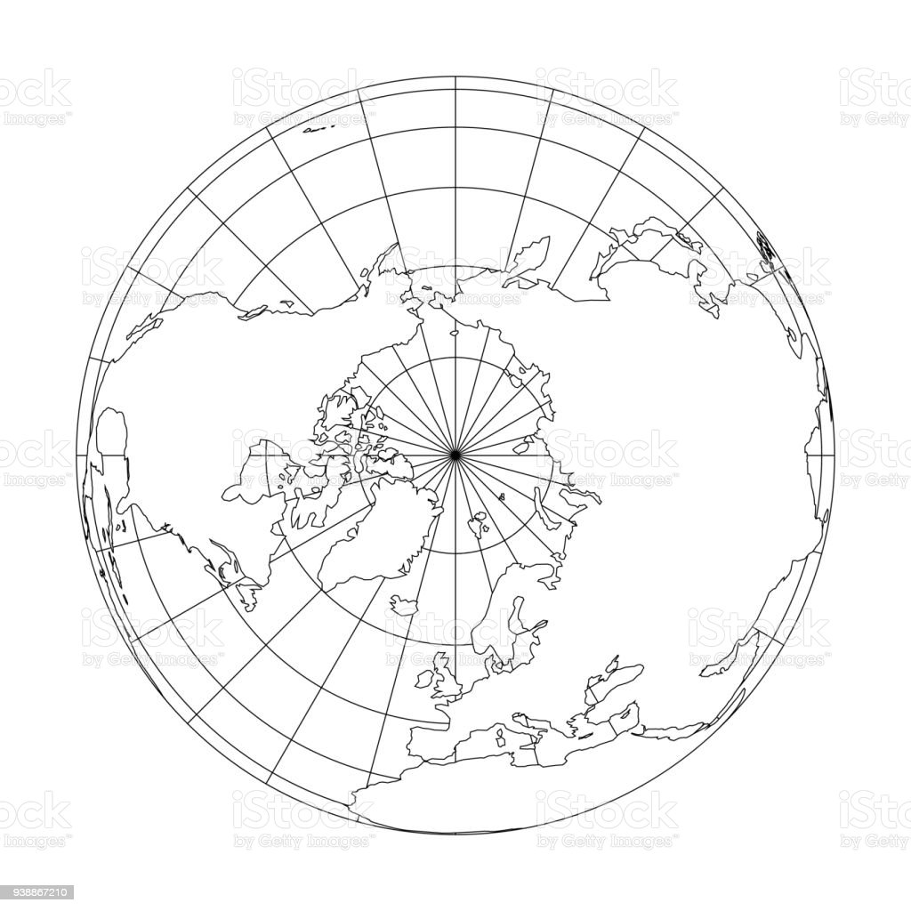 Outline Earth Globe With Map Of World Focused On Europe. Vector  Illustration Royalty Free