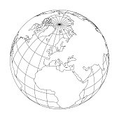 Outline Earth globe with map of World focused on Europe. Vector illustration