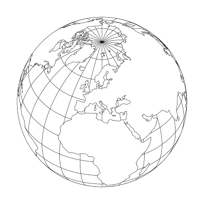 Outline Earth Globe With Map Of World Focused On Europe ...