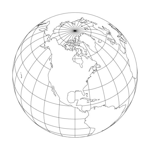 Outline Earth globe with map of World focused on North America. Vector illustration Outline Earth globe with map of World focused on North America. Vector illustration. longitude stock illustrations
