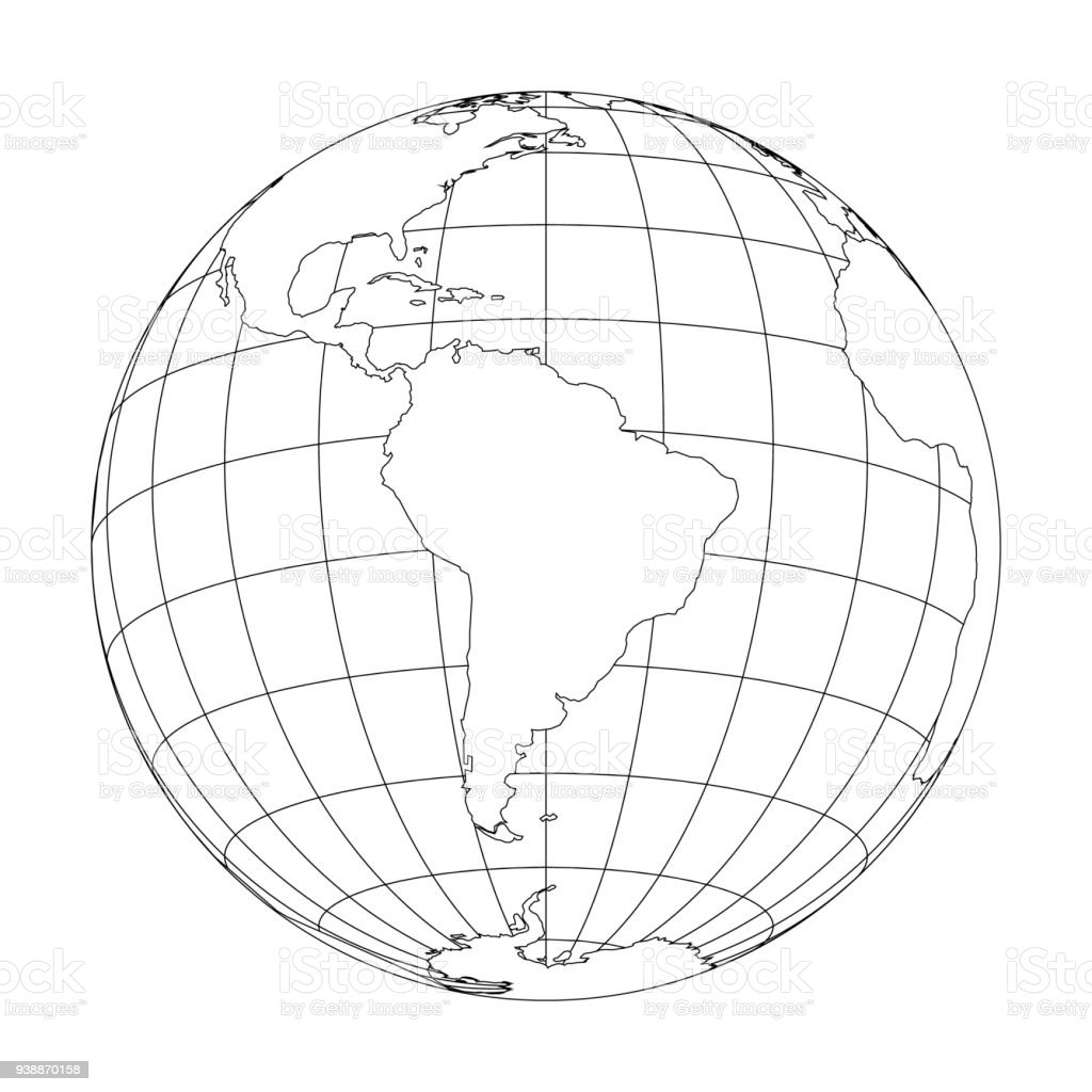 Outline Earth Globe With Map Of World Focused On South America. Vector  Illustration Royalty