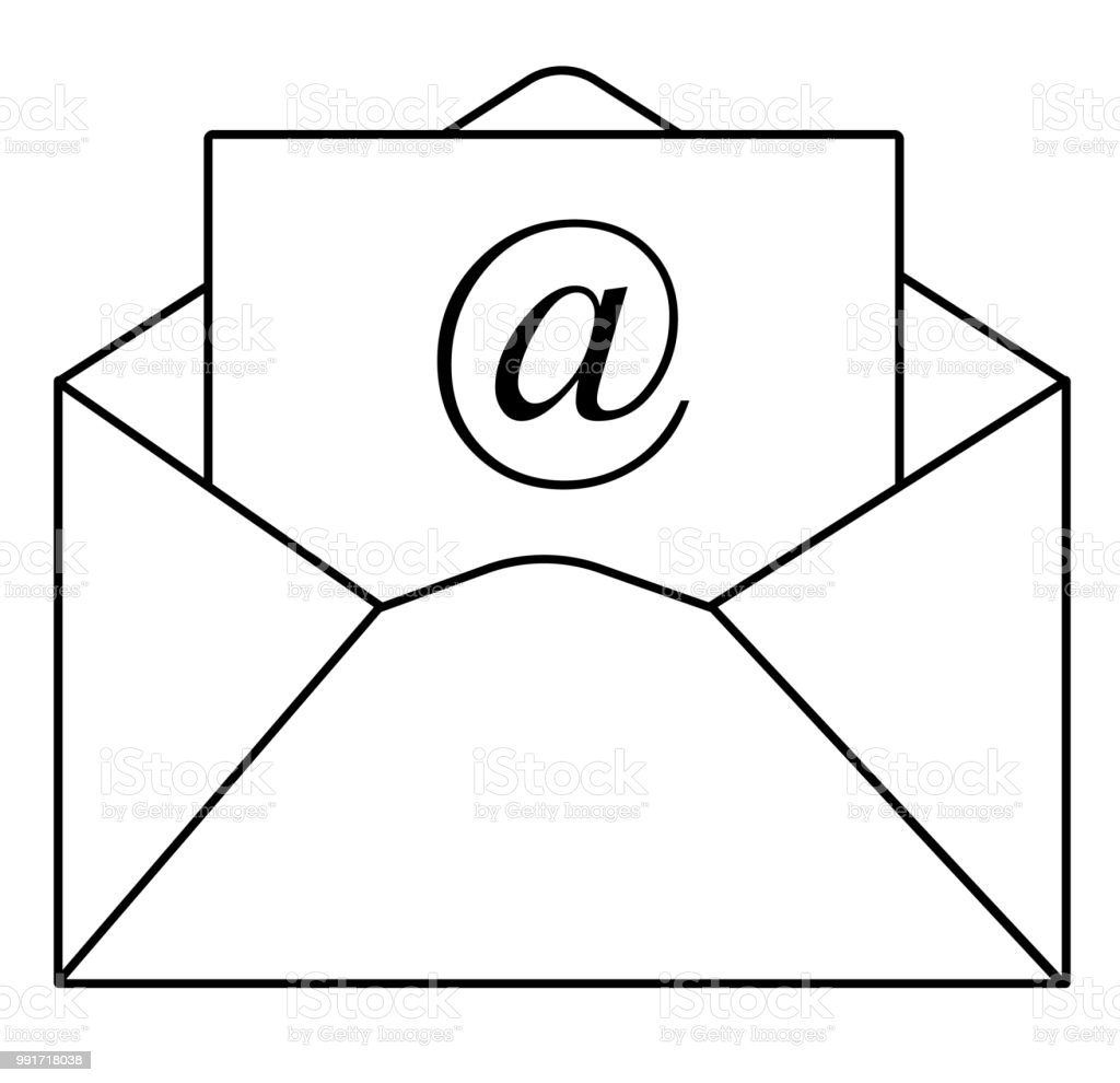 Outline Email Icon In Trendy Flat Style On White Background Outline