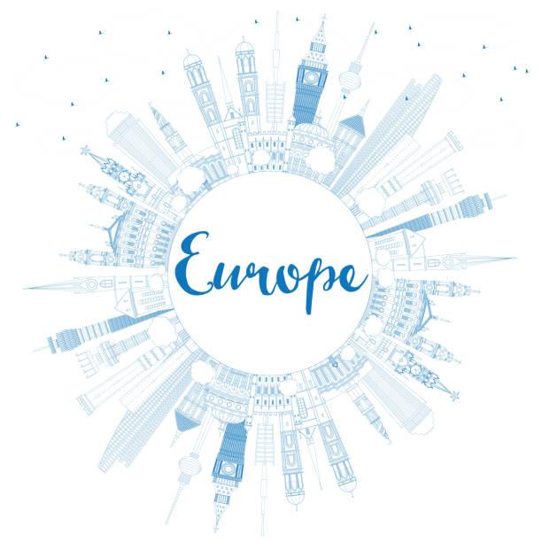 bildbanksillustrationer, clip art samt tecknat material och ikoner med outline europe skyline silhouette with blue landmarks and copy s - berlin street