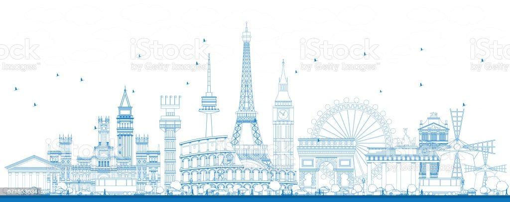Outline Famous Landmarks in Europe. vector art illustration
