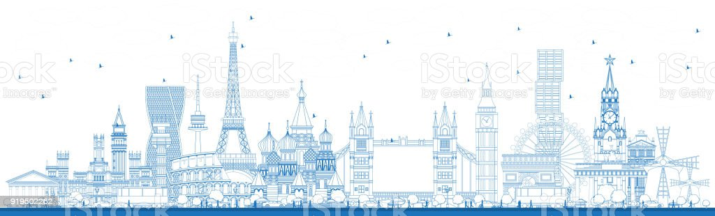 Outline Famous Landmarks in Europe. vector art illustration