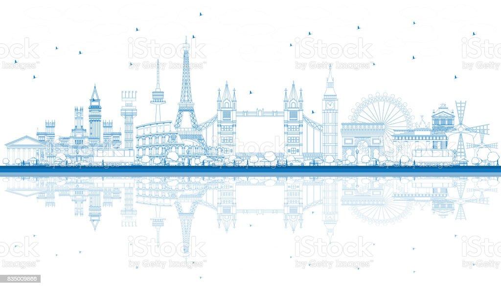 Esquema de los monumentos famosos en Europa con reflejos. - ilustración de arte vectorial
