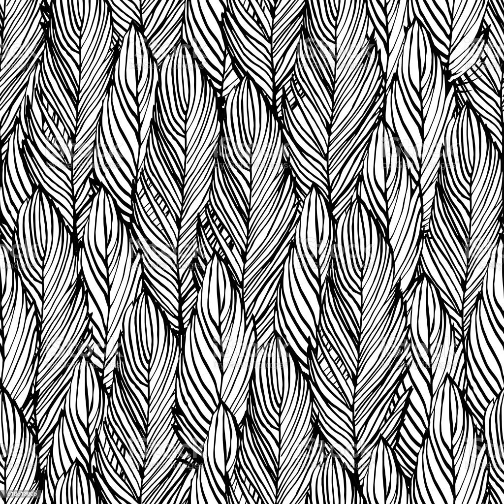 Outline Feather Seamless Pattern Stock Illustration ...