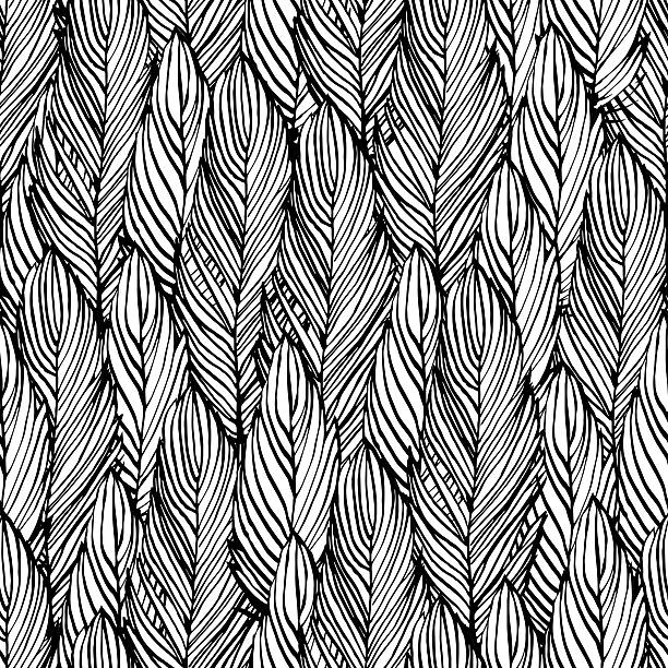 Outline feather seamless pattern Outline hand draw feather seamless pattern, black and white colored design background feather stock illustrations