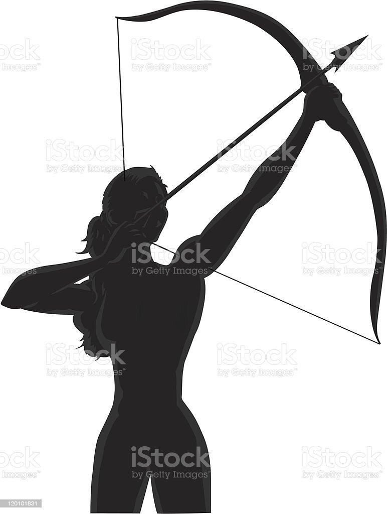 Outline female Archer vector art illustration