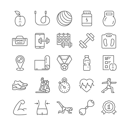Outline fitness icons