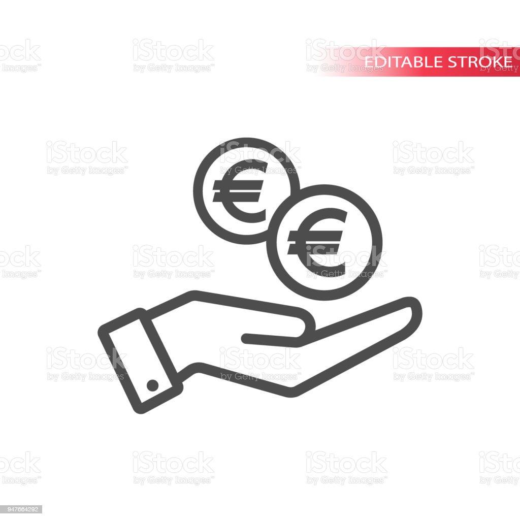 übersichtflache Symbol Der Euromünzen In Der Hand Fallen Hand Und