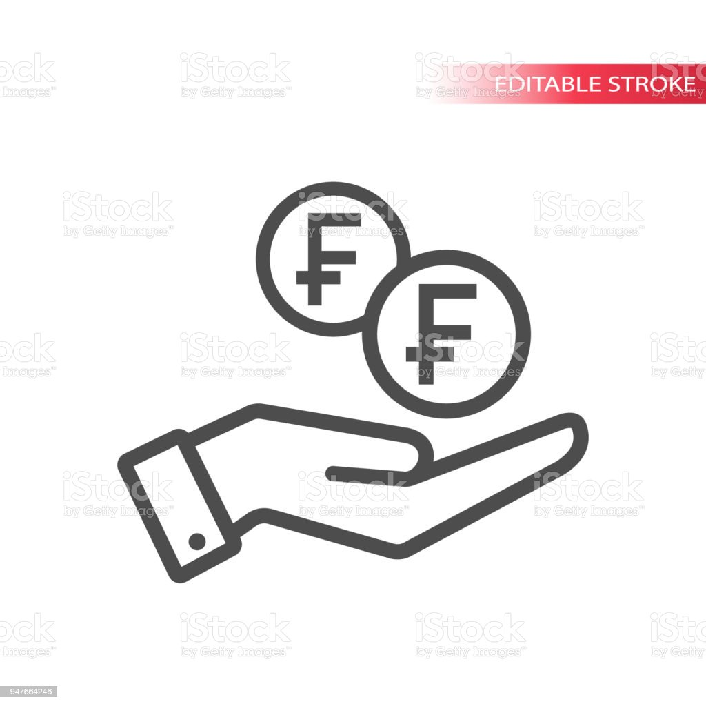 Outline flat icon of swiss franc coins falling in hand. Hand and coins dropping web pictograph. Swiss franc coin and a palm. vector art illustration