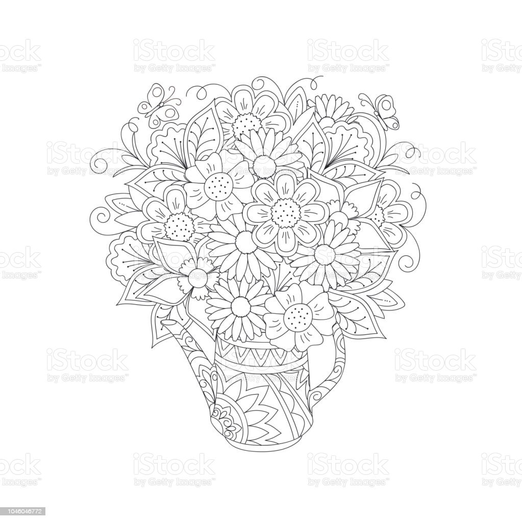 Outline floral bouquet in the ornamental teapot stock vector art outline floral bouquet in the ornamental teapot royalty free outline floral bouquet in the ornamental izmirmasajfo