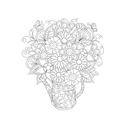 outline floral bouquet in the ornamental teapot