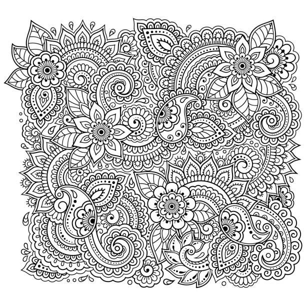 책 페이지를 착 색 꽃 패턴을 설명 합니다. 성인과 어린이 위한 antistress입니다. 흑인과 백인 낙서 장식입니다. 손 그리기 벡터 일러스트입니다. - 색칠하기 stock illustrations
