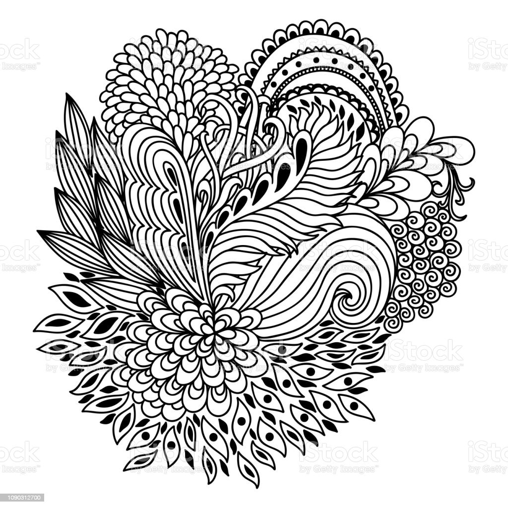 Outline Floral Pattern For Coloring Book Page Antistress For Adults And  Children Doodle Ornament In Black And White Hand Draw Vector Illustration  ...