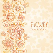 Outline floral summer border on seamless texture.