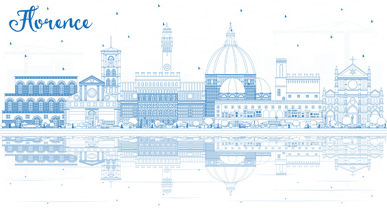 Outline Florence Italy City Skyline with Blue Buildings and Reflections.