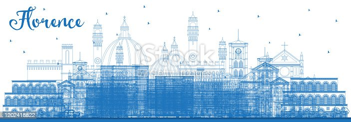 istock Outline Florence Italy City Skyline with Blue Buildings. 1202418822