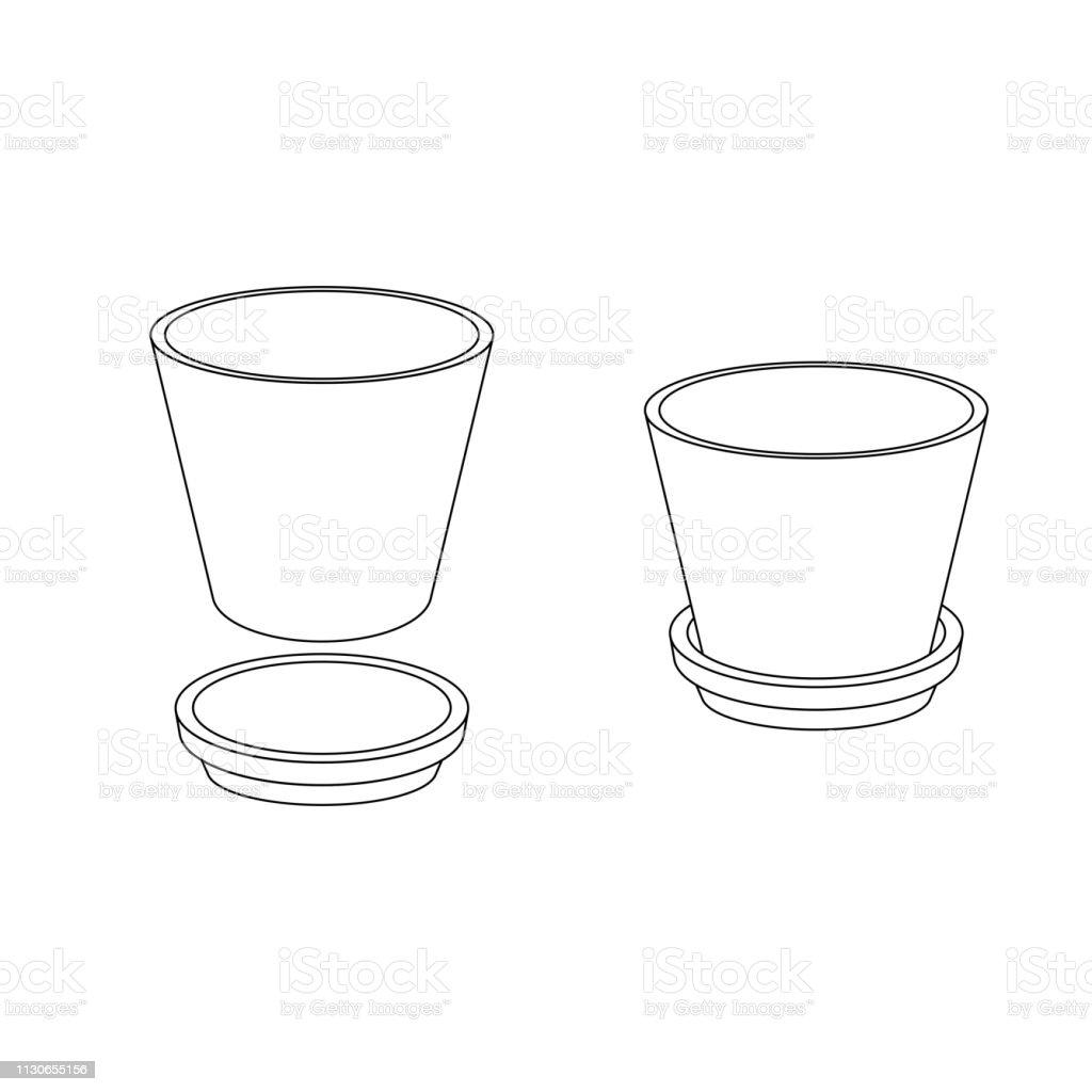 Outline flower pot - Illustration .  sc 1 st  iStock & Outline Flower Pot Stock Vector Art \u0026 More Images of Art - iStock