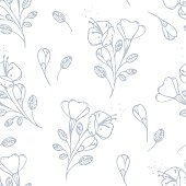 Outline flowers seamless pattern in vector. Stylized floral background