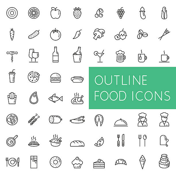 outline food icons set for web and applications. - food and drink stock illustrations, clip art, cartoons, & icons