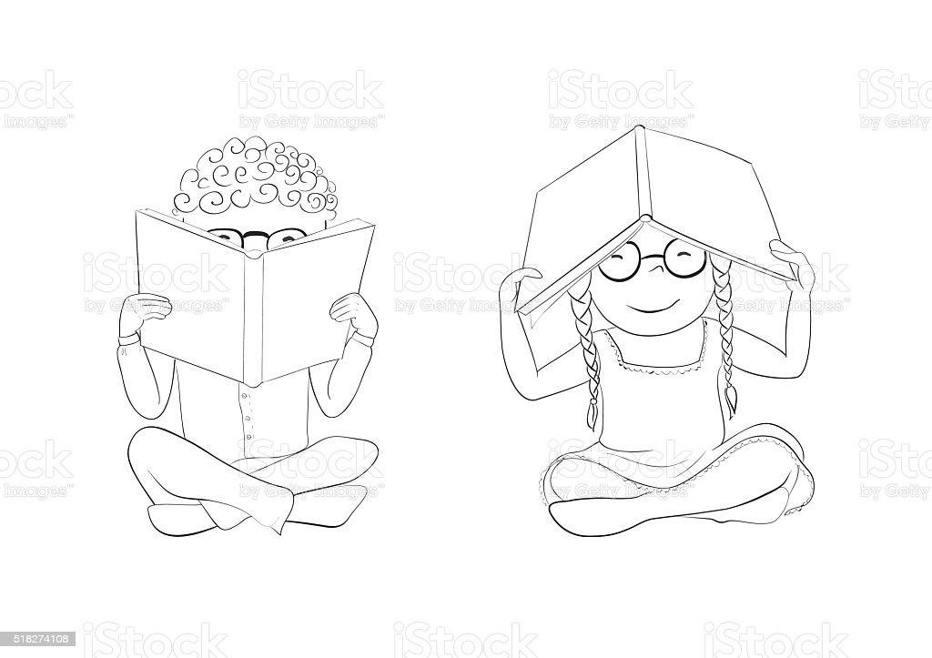 Vetores De Contorno Engracado Criancas Lendo Livro Para Colorir E