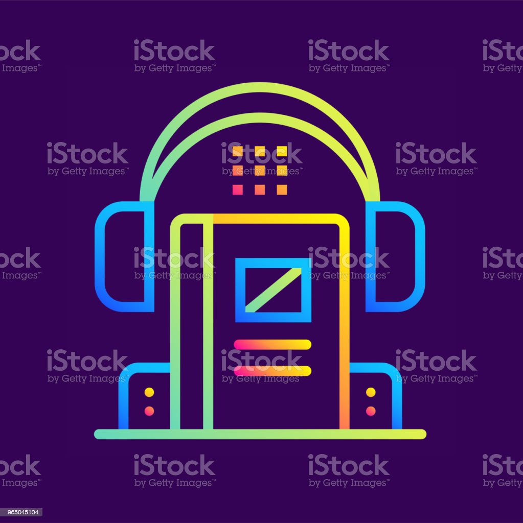 Outline gradient icon Audio book. Online education, e-learning. Suitable for print, interface, web, presentation royalty-free outline gradient icon audio book online education elearning suitable for print interface web presentation stock vector art & more images of design