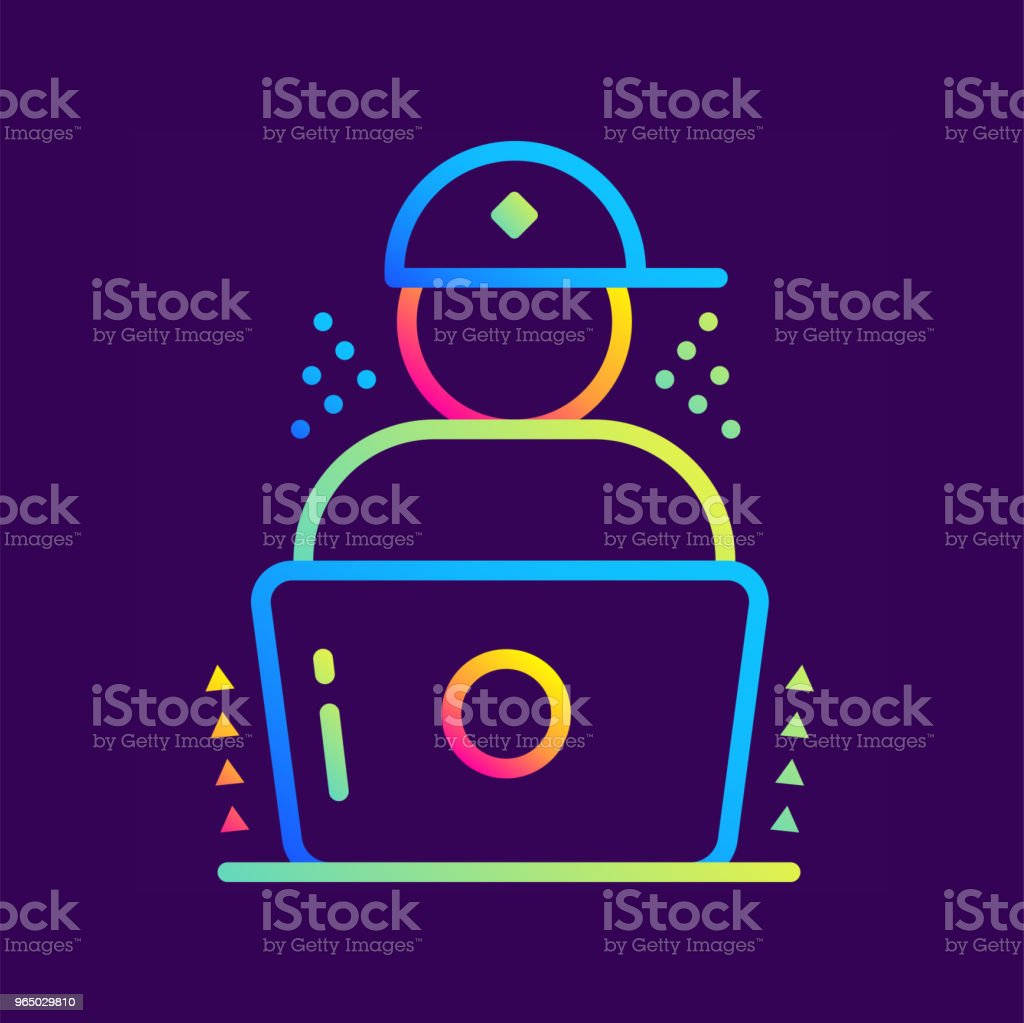 Outline gradient icon Distance learning. Online education, e-learning. Suitable for print, interface, web, presentation royalty-free outline gradient icon distance learning online education elearning suitable for print interface web presentation stock vector art & more images of design