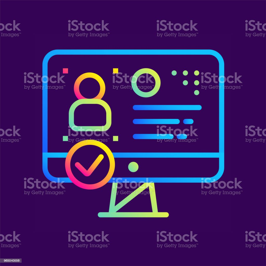 Outline gradient icon Identity verification. Online education, e-learning. Suitable for print, interface, web, presentation royalty-free outline gradient icon identity verification online education elearning suitable for print interface web presentation stock vector art & more images of design