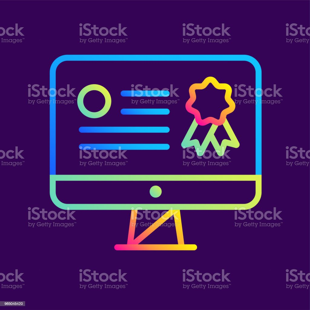 outline gradient icon online certification online education