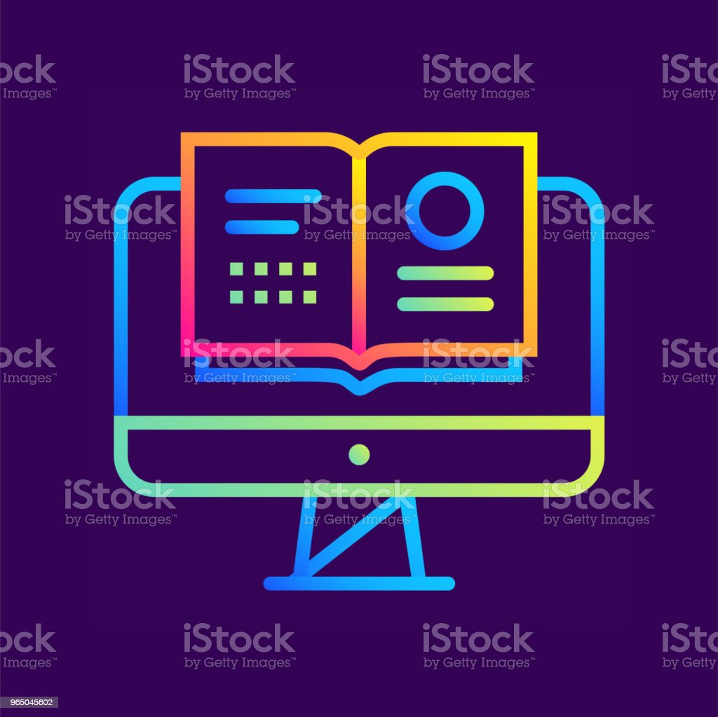 Outline gradient icon Online reading. Online education, e-learning. Suitable for print, interface, web, presentation outline gradient icon online reading online education elearning suitable for print interface web presentation - stockowe grafiki wektorowe i więcej obrazów bez ludzi royalty-free