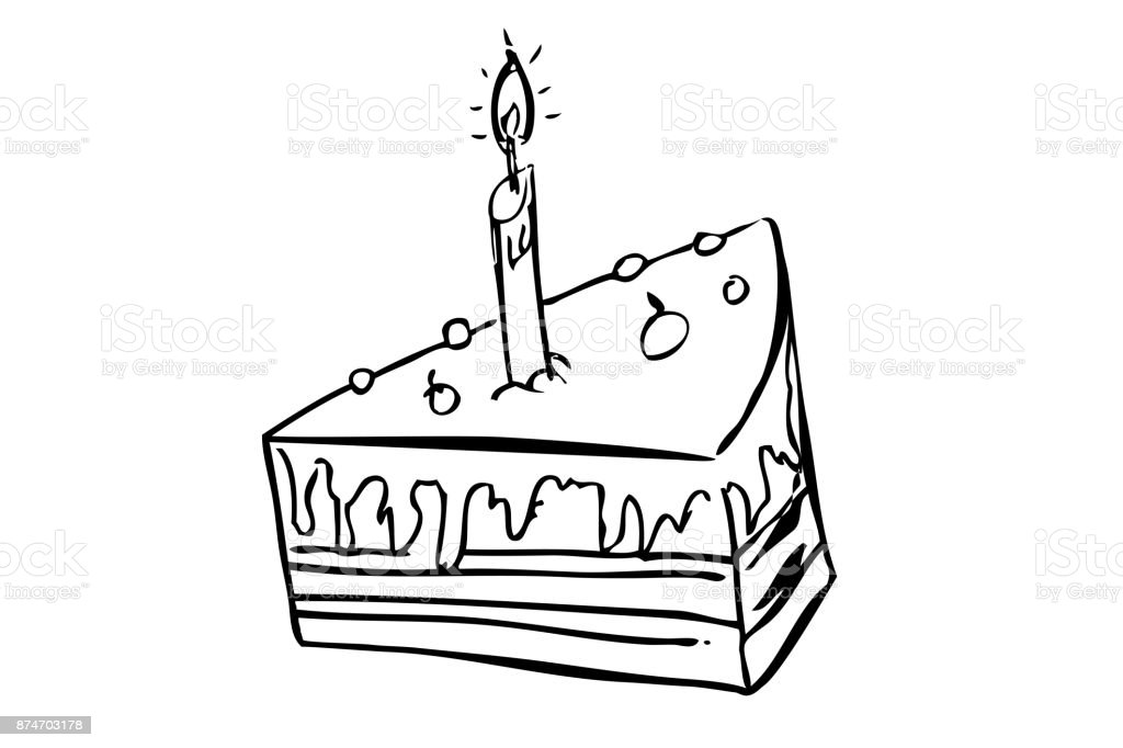 Outline Hand Draw Sketch Of Birthday Greeting Card Element Design Royalty Free