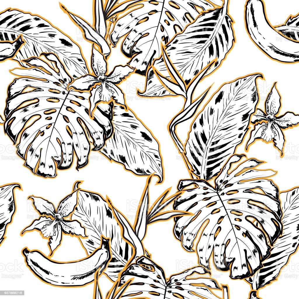 Outline hand drawing exotic leaves seamless pattern tropical leaves and flowers summer background vector illustration